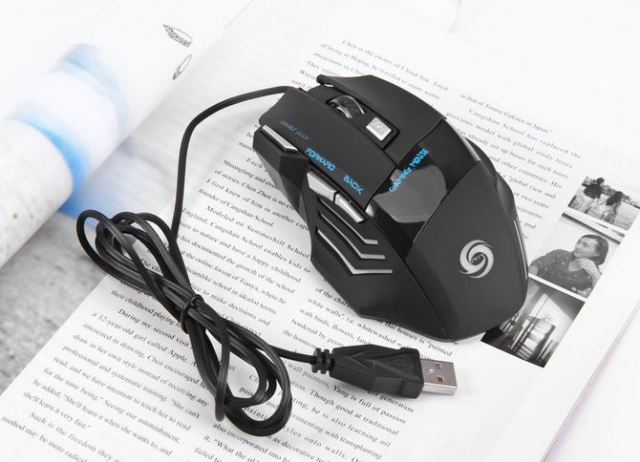 jwfy JWFY USB Wired Gaming Mouse Seven Buttons Support 5500DPI Resolution with LED